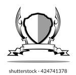 shield and swords badge   Shutterstock .eps vector #424741378