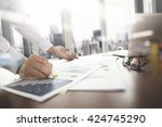 business documents on office... | Shutterstock . vector #424745290