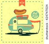 retro street food truck vector...   Shutterstock .eps vector #424747024