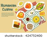 romanian cuisine with grilled... | Shutterstock .eps vector #424752400