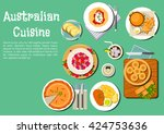 australian cuisine with meat...   Shutterstock .eps vector #424753636