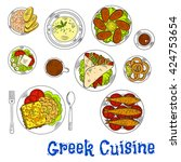 greek cuisine sardines  squid... | Shutterstock .eps vector #424753654