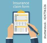 insurance claim form. man... | Shutterstock .eps vector #424756126