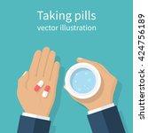taking the pills. man holds in... | Shutterstock .eps vector #424756189