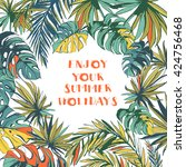 illustration tropical floral... | Shutterstock . vector #424756468