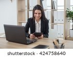 young business woman with... | Shutterstock . vector #424758640