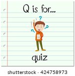 flashcard letter q is for quiz... | Shutterstock .eps vector #424758973