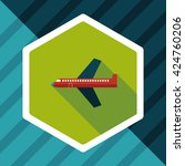airplane flat icon with long... | Shutterstock .eps vector #424760206