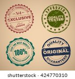 set of old colored stamps and... | Shutterstock .eps vector #424770310