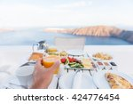 european vacation healthy... | Shutterstock . vector #424776454