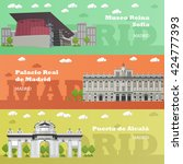 madrid tourist landmark banners.... | Shutterstock .eps vector #424777393