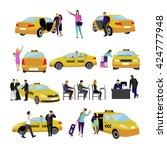 vector set of taxi service... | Shutterstock .eps vector #424777948