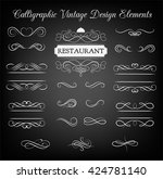 ornate frame elements. vintage... | Shutterstock .eps vector #424781140