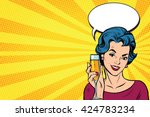 Toast girl party yellow retro background pop art retro vector. Celebration and party. Alcohol drink | Shutterstock vector #424783234