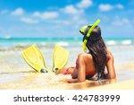 Beach Vacation Snorkel Girl...