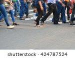 pedestrian are crossing in... | Shutterstock . vector #424787524