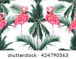 pink flamingos  exotic birds ... | Shutterstock .eps vector #424790563