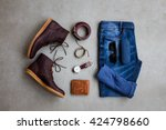 men's casual outfits with man... | Shutterstock . vector #424798660