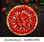 tart with strawberries and... | Shutterstock . vector #424803490