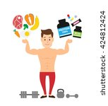 muscle man bodybuilder with... | Shutterstock .eps vector #424812424