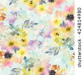 seamless pattern with flowers... | Shutterstock . vector #424814980