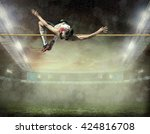 athlete in action of high jump.   Shutterstock . vector #424816708