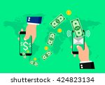 hands holding smart phones with ... | Shutterstock .eps vector #424823134