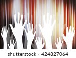 dancing hands crowd vector | Shutterstock .eps vector #424827064
