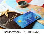 credit cards with passports and ... | Shutterstock . vector #424833664