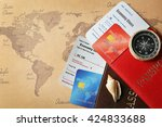 credit cards with passports and ... | Shutterstock . vector #424833688
