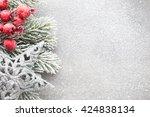 christmas tree  greeting card.... | Shutterstock . vector #424838134