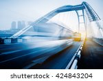motion blurred traffic on... | Shutterstock . vector #424843204