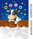 funny design with cow... | Shutterstock .eps vector #424845730