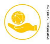 hand holding a globe. icon... | Shutterstock .eps vector #424856749