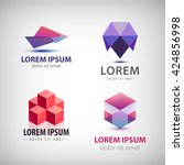 vector set of colorful origami... | Shutterstock .eps vector #424856998