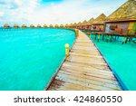 beautiful tropical maldives... | Shutterstock . vector #424860550