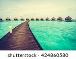 beautiful tropical maldives... | Shutterstock . vector #424860580
