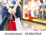 concept of woman shopping and... | Shutterstock . vector #424864564