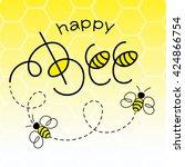 happy bee vector illustration.... | Shutterstock .eps vector #424866754