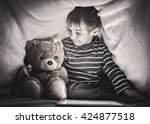 kid under the blanket playing... | Shutterstock . vector #424877518