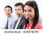 call center  telemarketing or...   Shutterstock . vector #424878190