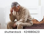 worried senior man can not... | Shutterstock . vector #424880623
