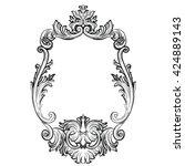 baroque rococo mirror frame... | Shutterstock .eps vector #424889143