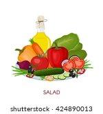 healthy vitamin salad. fresh... | Shutterstock .eps vector #424890013