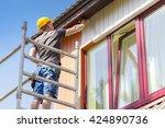 construction worker on... | Shutterstock . vector #424890736