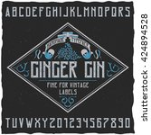 ginger gin typeface with... | Shutterstock .eps vector #424894528