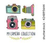 retro photo cameras set. vector ... | Shutterstock .eps vector #424895644
