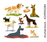 different dog breeds collection ... | Shutterstock .eps vector #424904284