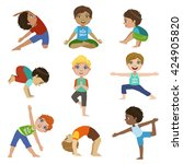 little boys doing yoga set of... | Shutterstock .eps vector #424905820