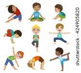 little boys doing yoga set of...   Shutterstock .eps vector #424905820